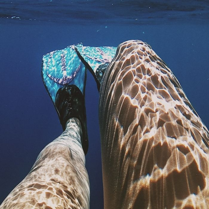 nage avec des palmes en piscine